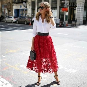 H&M red lace midi skirt